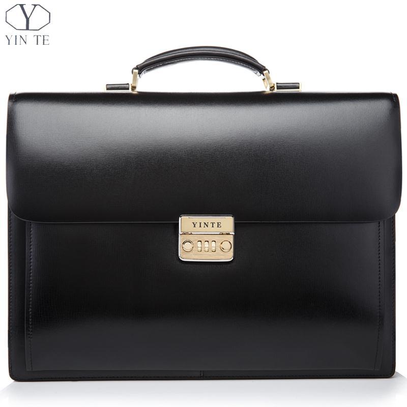 YINTE Leather Men's Briefcase Black Bag High Quality Business Men's Laptop Bag Lawyer Handbag Document Case Portfolio T8158-5 цена и фото