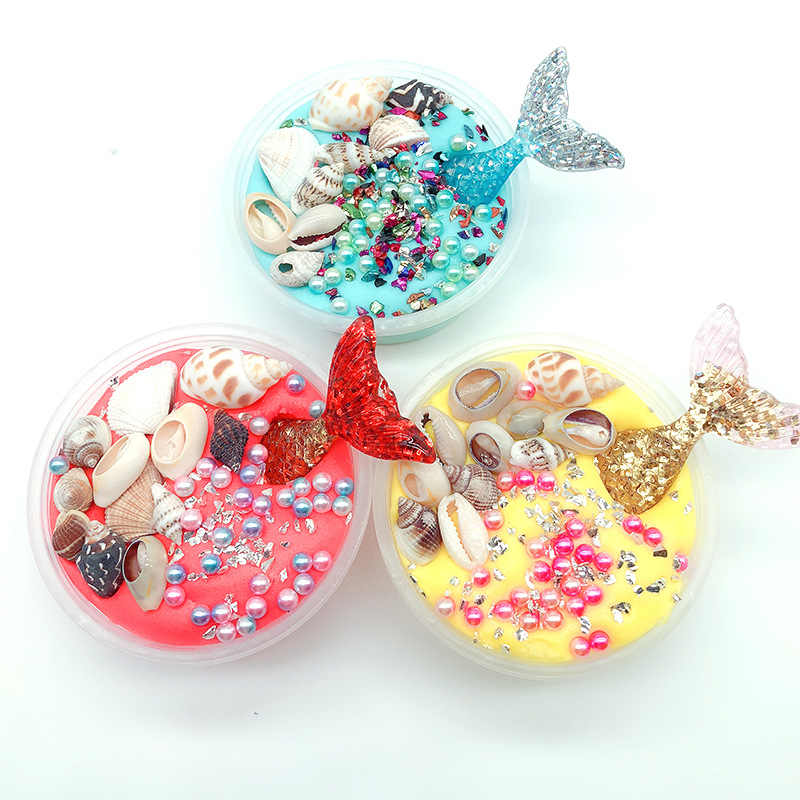 TOY Kawaii Mermaid Shell Pearl Slime Accessories Fluffy Slime Toys Kids Sequin Cloud Slime Clear Light Clay Sabbia Colorata 60ml
