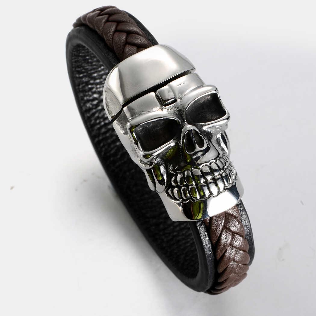 91c103199fa0 Hombres de acero inoxidable cráneo de cuero marrón pulsera brazalete biker  joyería regalos plata tono KL64