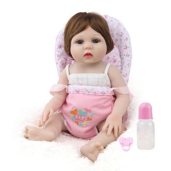 NPK DOLL Reborn Baby Girl Full silicone Vinyl dolls toys for children Birthday Gift Lucy Brown Hair Wig bebe s reborn boneca