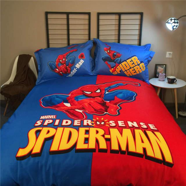 Boys Bed Set Spider Man Pillowcase Disney Mavel Home Textile Queen Size  Kids Bedroom Decor 4pc
