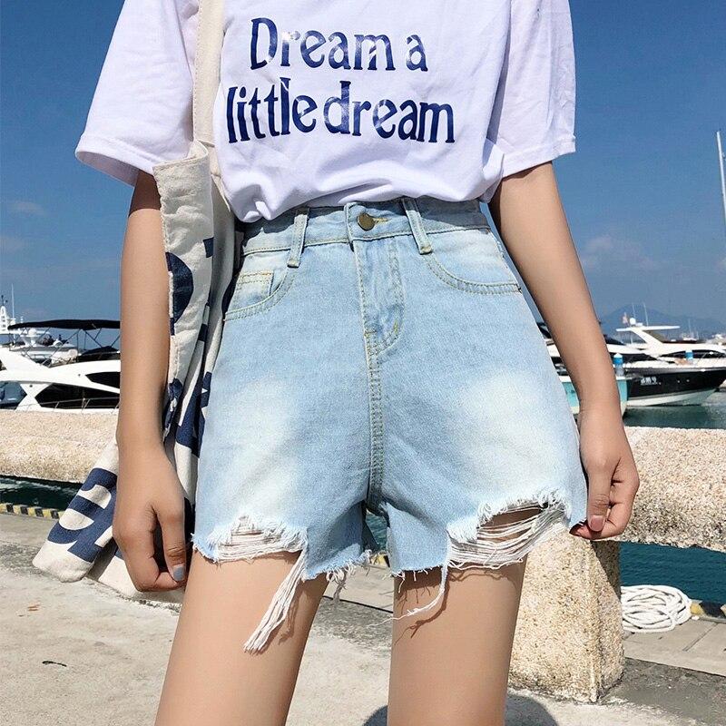 Bumpercrop damskie szorty jean trzymać odzież damska niebieski lato rower denim nowych kobiet szerokie pasy 2019 ulica mody wysokiej zmarnowane w Szorty od Odzież damska na AliExpress - 11.11_Double 11Singles' Day 1