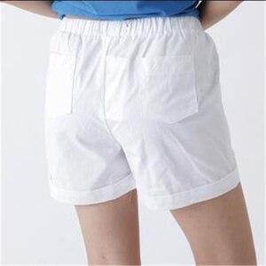 Image 2 - 女性のプラスサイズ夏ミッドウエストゴム固体ストレートプリーツ綿100% 通気性パンツ女性特大汗ショーツ