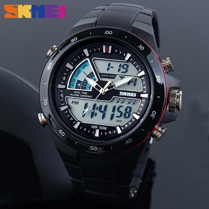 SKMEI Fashion Outdoor Sports Watches Man Watch Digital Analog Alarm Male Dual Display 50M Waterproof Backlight Chronograph Clock