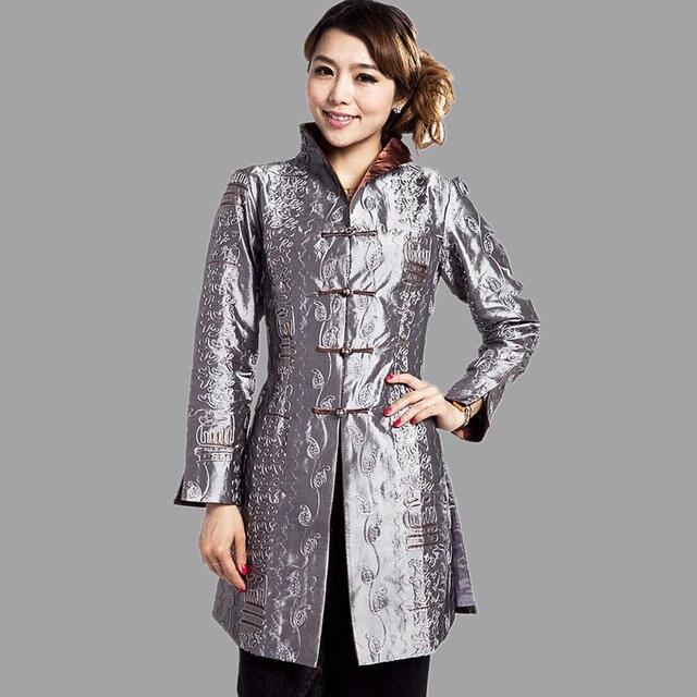 Серый традиционном китайском стиле женская куртка Mujer Chaqueta сатинировки женщин вышивка пальто размер sml XL XXL XXXL 4XL 5XL Mny001B