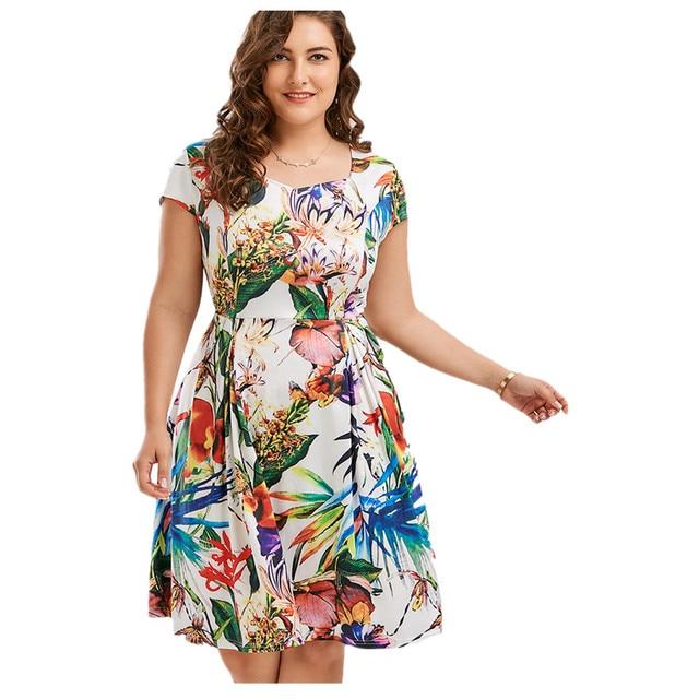 fb2c7984c68 Women Plus Size Floral Leaf Print Sweetheart Vintage Dress Short Sleeves  1960s Rockabilly Party Dress Summer Vestidos 2018