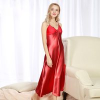 New Women Summer silk long Night Dress Plus Size Loose v neck Pamjamas sexy lace Nightwear strap Sleepwear Nightgown 6 colors