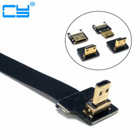 Down 90 Degree FPV Micro HDMI Male to Mini HDMI FPC Flexible Flat Cable fpv Flat Cable for GOPRO Multicopter Aerial Photography