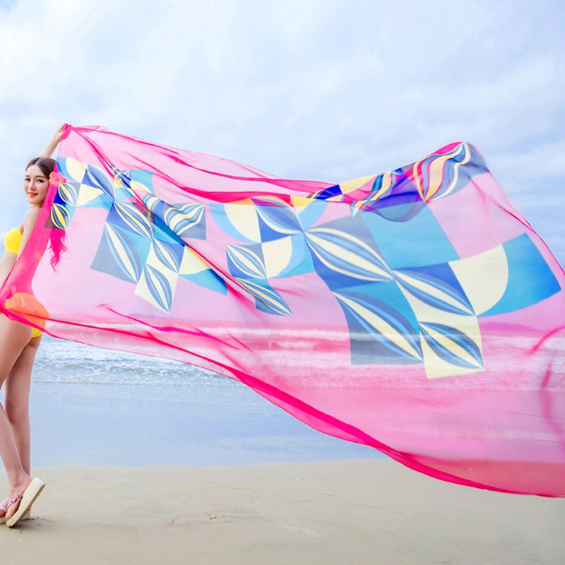 Women Beach Sarongs Shawl Chiffon Scarvf парео Geometrical Design Swimsuit Cover Up Dress Pareos De Playa Mujer