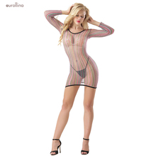 купить Sexy Chemise Lingerie Babydoll Erotic Lingerie Sexy Dress Sexy Chemise Lingerie Long Sleeves Costumes Rainbow Color Chemise дешево