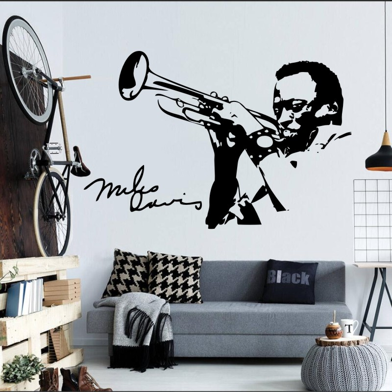 US $10.87 25% OFF|Man Playing Saxophone Silhouette Wall Mural Music Series  Art Design Wall Decals Home Bedroom Musical Decoration Wall Poster WM 7-in  ...