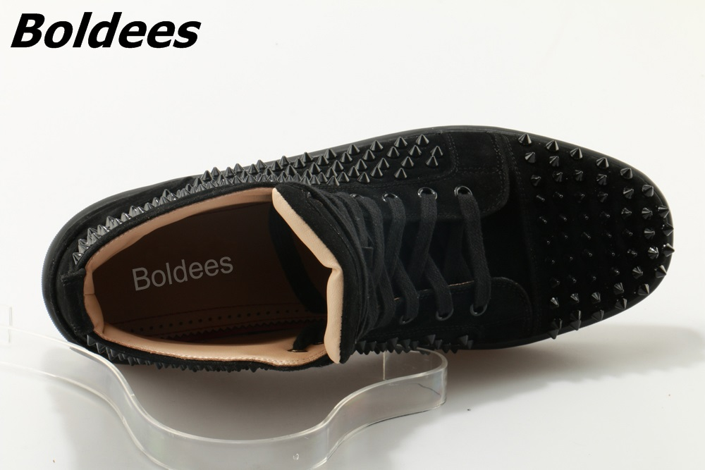 Boldees Tennis Men Sportswear Black Party Shoes Suede Spikes Studded Shoes Men Brand High Top Casual Shoes Flats Sneakers - 6