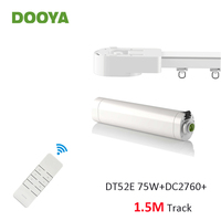 Dooya Super Silent Curtain Rails System, DT52E 75W+1.5M or Less Track+DC2760, RF433 Remote Controller,Automatic Curtain Control