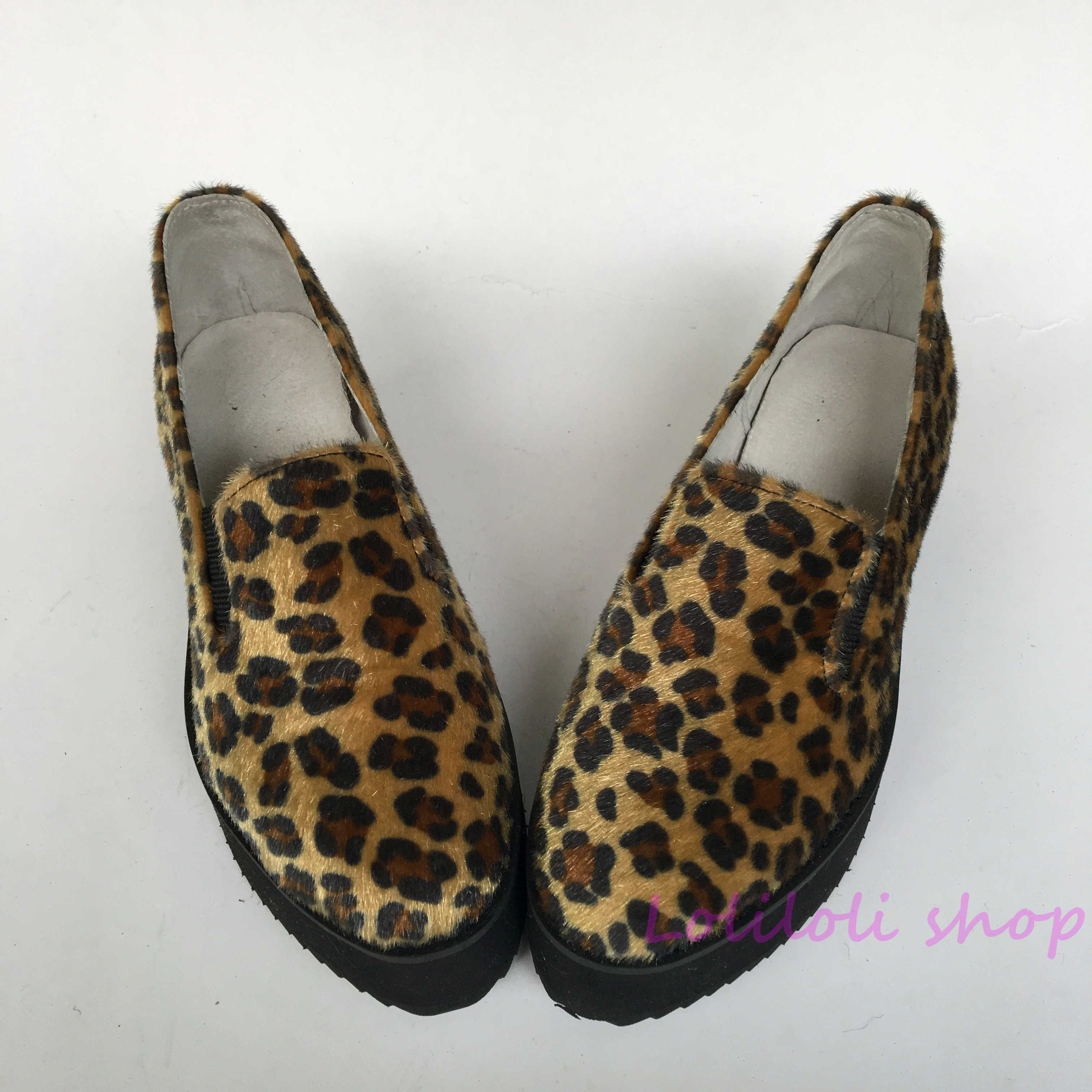 Princess swee Leopard lolita shoes horsehair leopard elastic sponge cake shoes Hand made Customer customization Large size 5170 fashion tassels ornament leopard pattern flat shoes loafers shoes black leopard pair size 38