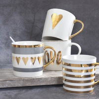 Best Fine Flawless Ceramic Coffee Cups and Mugs Gold Painting Porcelain Water Mug para cafe Amoureux Love Gift Drinkware Tools