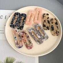 Новинка Корея полые геометрические капли Акриловые зажимы для волос блестящая фольга шпильки с блестками для женщин девочек заколки аксессуары для волос