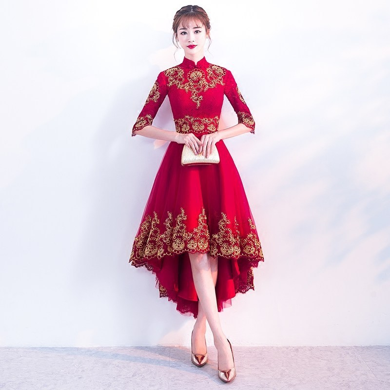 Red Cheongsam Dress Sexy Lace Wedding Qipao Women Traditional Chinese New Year Costume Oriental Style Evening