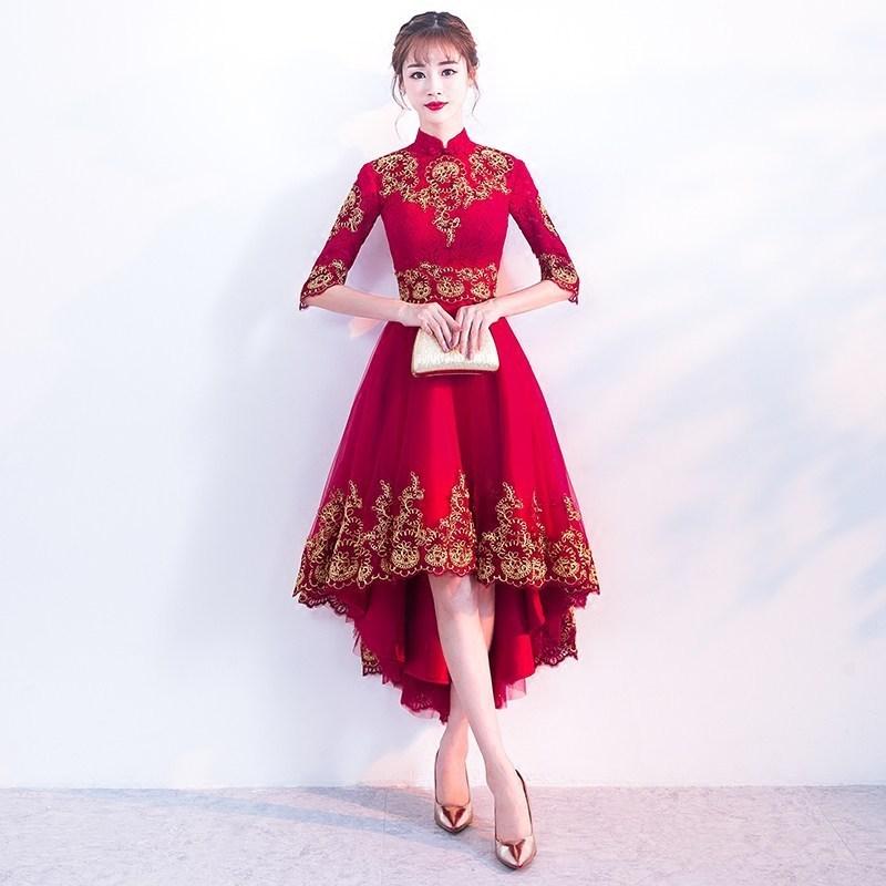 Red Cheongsam Dress Sexy Lace Wedding Qipao Women -9596