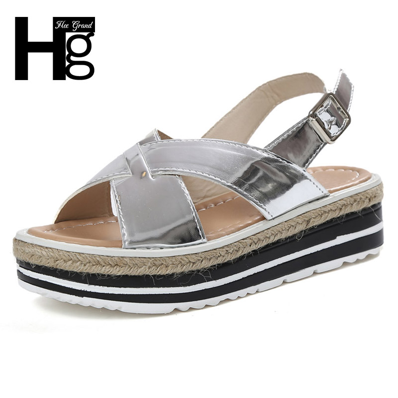 HEE GRAND 2017 Summer Gladiator Sandals Straw Platform Daily Silver Shoes Woman Slip On Casual Women Flat with Shoes XWZ3887 phyanic 2017 summer gladiator sandals straw platform creepers silver shoes woman buckle casual women flats shoes phy4046