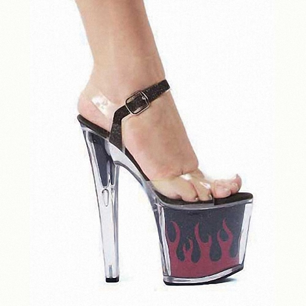 Hot 7 inch sexy clear Gorgeous High Heels flame platform crystal shoes 17cm women 2018 Exotic Dancer high shoes hot sale 6 inch high heel sandals new fashion women dress sexy shoes 17cm crystal shoes exotic dancer slippers