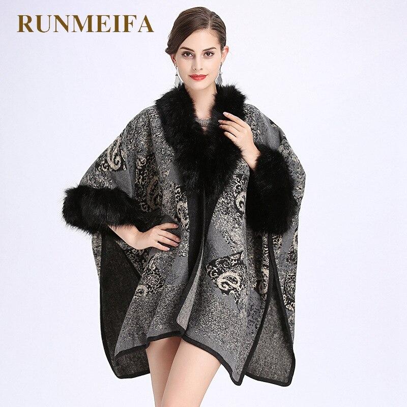 RUNMEIFA 2018 новые модные женские осенние и зимние Пейсли лисий мех воротника шерсть имитация половина рукав вязать шаль пальто-мантия