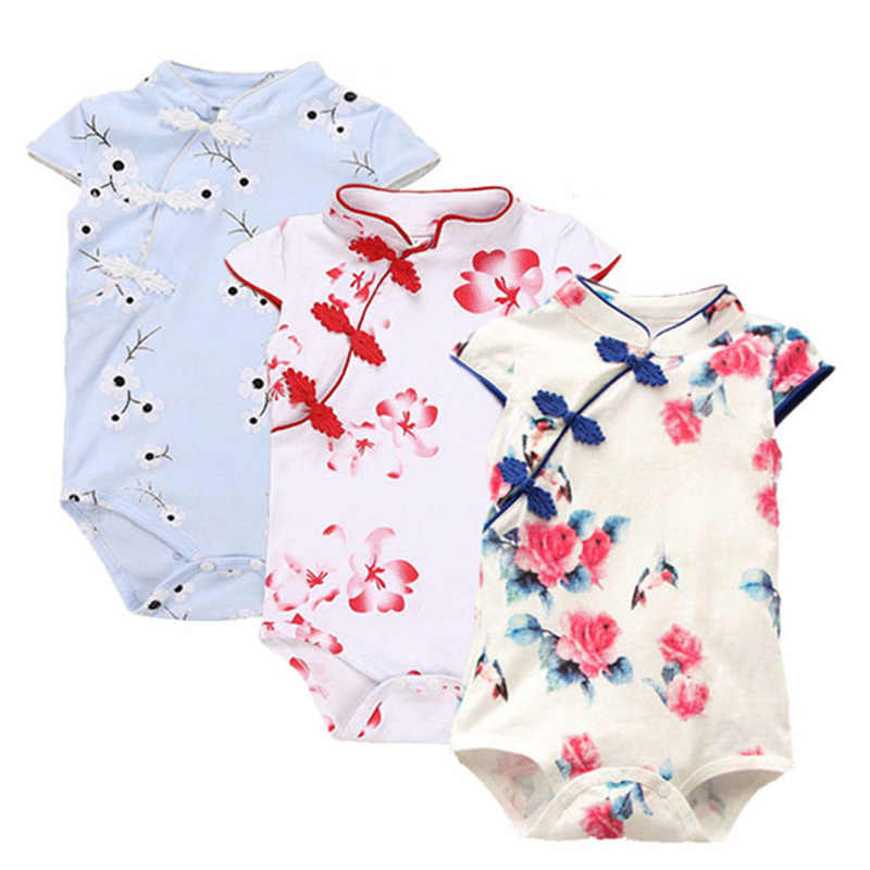 Hot Sale Baby Rompers Summer Baby Girl Clothes Chinese Cheongsam Newborn Baby Clothing Roupas Bebe Infant Jumpsuits For Party