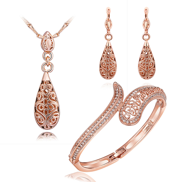 Silver/Yellow/Rose Gold-color Hollow Water Drop Pendant Necklace Dangling Earrings For Women Classic Female Jewelry Set