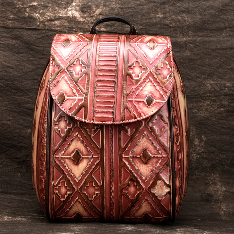 Women Genuine Leather Embossed Backpack Travel Daypack Geometry Pattern Bag National Style Retro Brush Color Rucksack