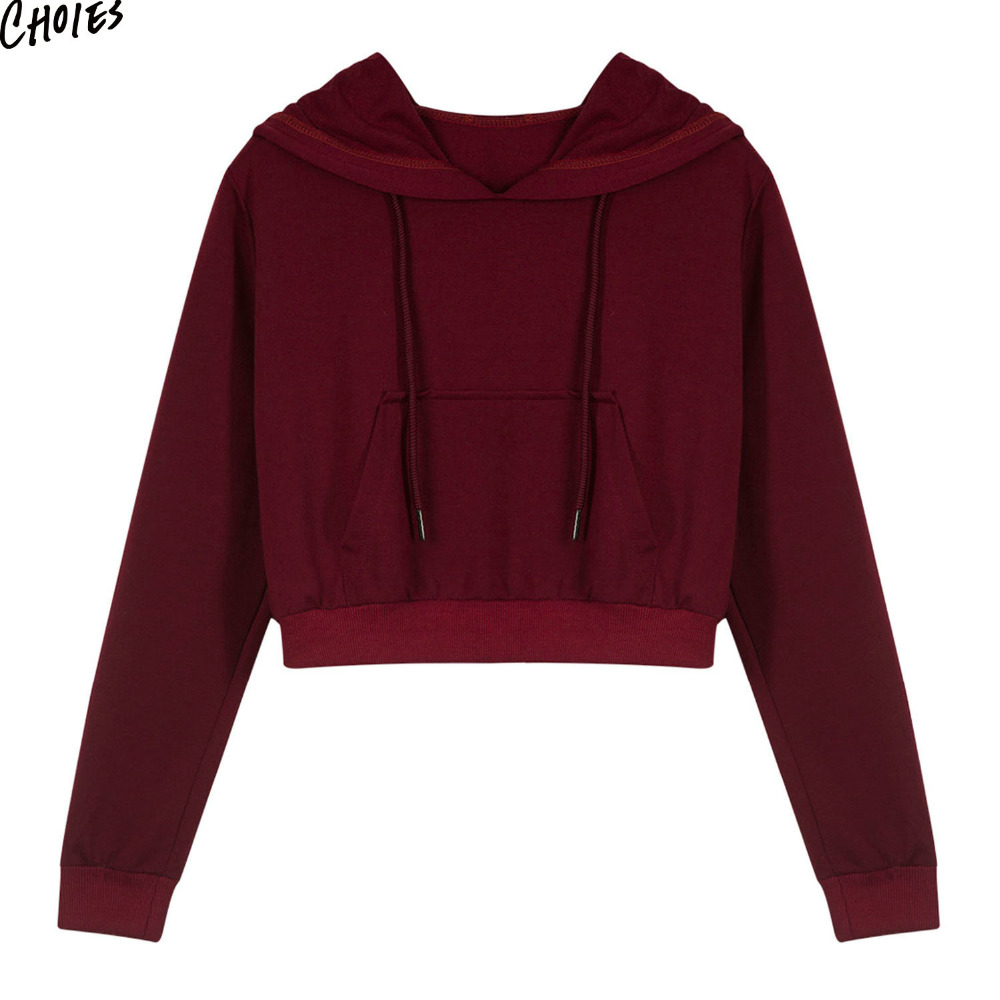 3 Colors Drawstring Pouch Pocket Cropped Women Hoodie