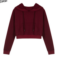 3 Colors Drawstring Pouch Pocket Cropped Women Hoodie Sweatshirt 2017 Autumn High Street Style Casual Short