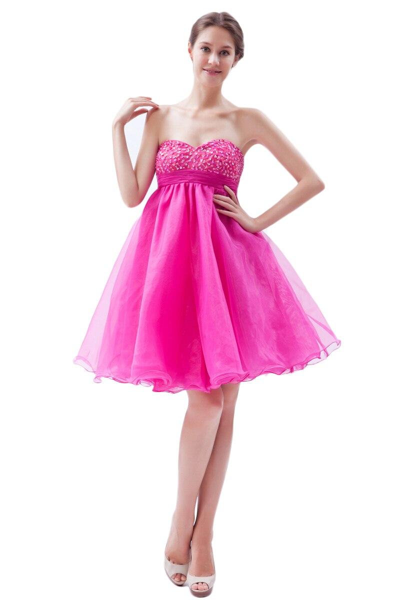 Fucsia Fuera del Hombro Corto Mini Vestidos de Baile Sin Mangas Con ...