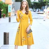 Fairy Dreams Women Dress Yellow And Pink Embroidery Elegant Dresses 2017 New Style Autumn Plus Size Clothing vestidos de festa