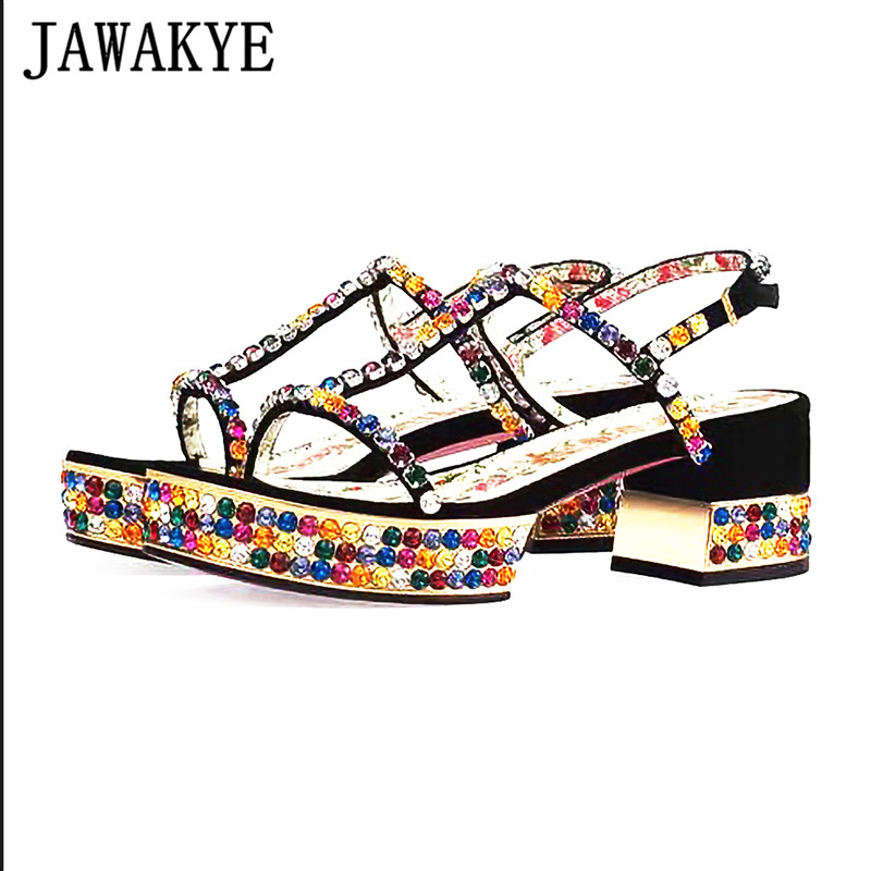 173d132ee2 US $59.25 2019 new style spring one strap crystal heel sandals women ...