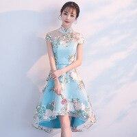 Embroider Traditional Chinese Dress Qipao Ladies Evening Dresses Vintage Cheongsam Women Bride Short Lace Cheongsam Modern Dress