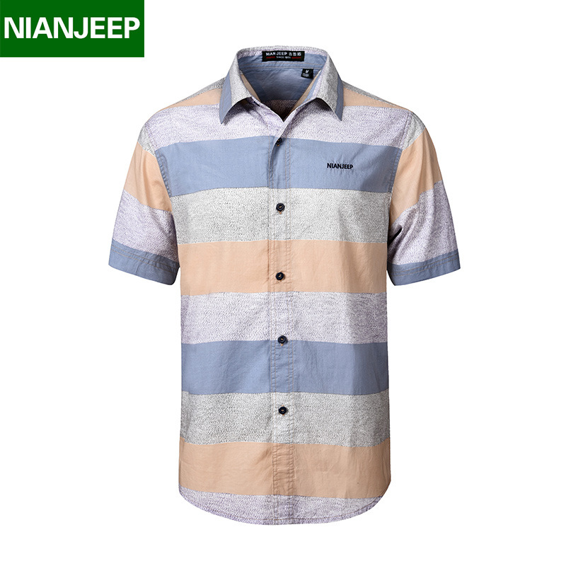 NIANJEEP 100% Cotton striped Shirt Men New Summer Casual Men's Short Sleeves Shirts male Breathable Chemise Loose Army Shirt