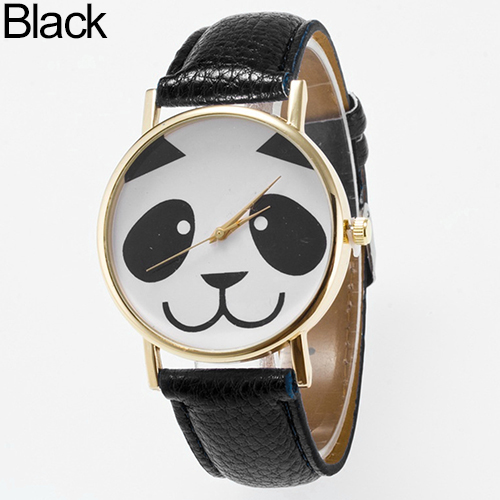 Women's Fashion Cartoon Panda Round Dial Faux Leather Analog Quartz Wrist Watch