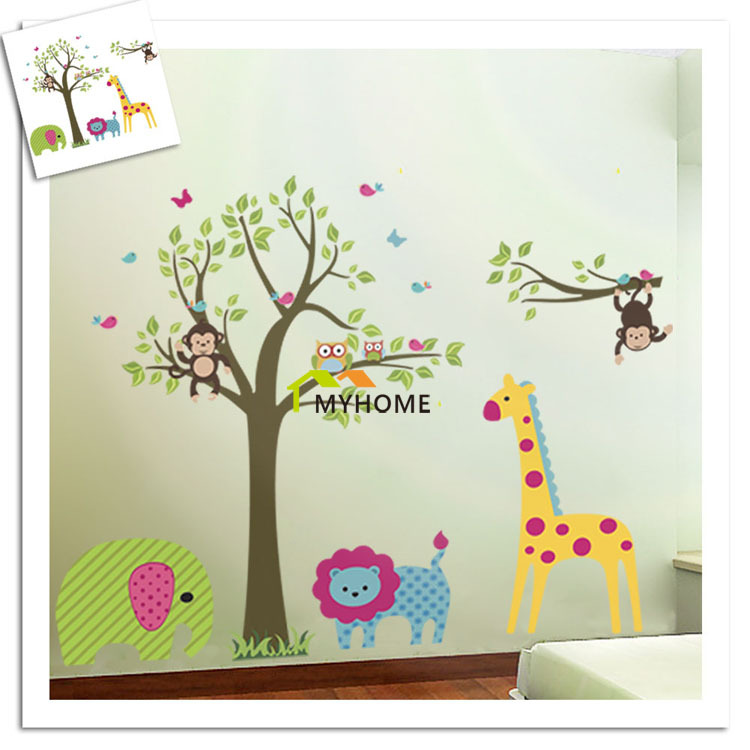 precioso flores mono zoolgico rbol bho animales de dibujos animados impermeable pegatinas de pared para nios
