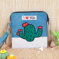 Sewing Art Cactus Pattern Girls Coin Purse DIY Small Dime Bags Japanese Cute Style Womens Wallets