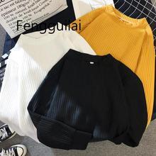 Свитер женский 2019 осень зима новый сплошной цвет базы свитер с длинным рукавом о-образным вырезом
