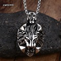 Mprainbow Jewelry Punk Men's Biker Stainless Steel Animal Lion Head Shape Pendant Necklace with Free Chain