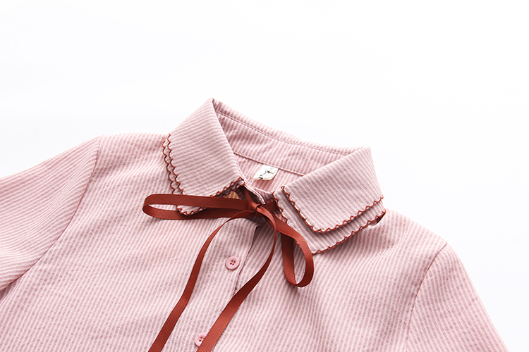 Ruffles Striped Bow Flare Long Sleeve Chiffon Blouse Shirt 11