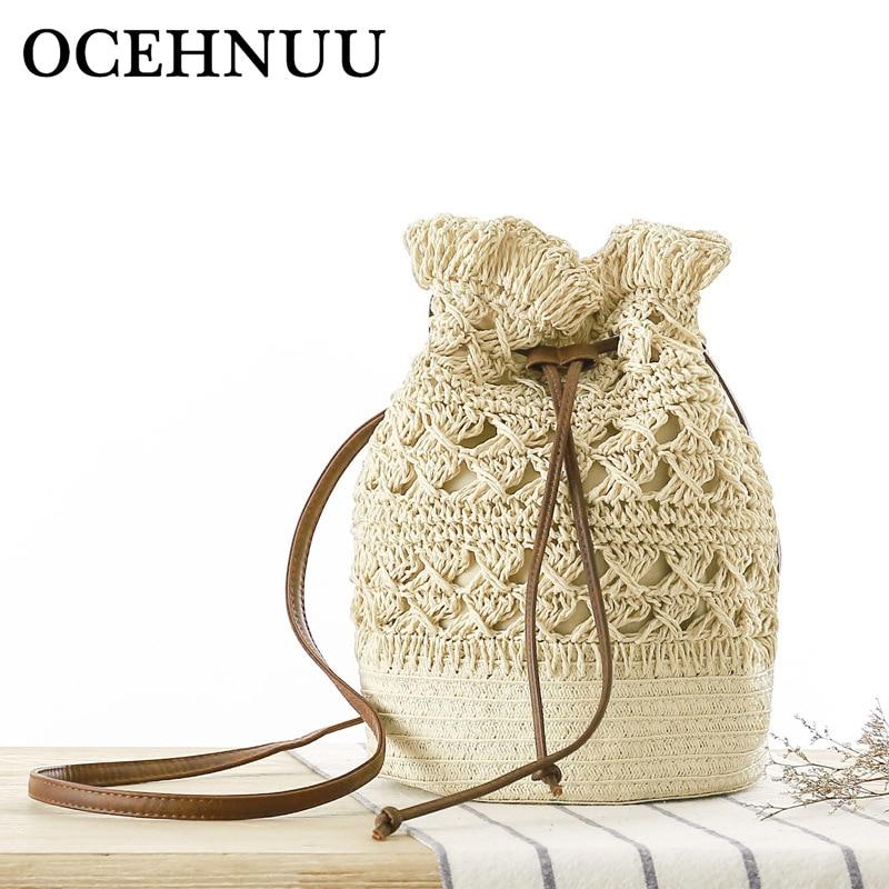 OCEHNUU Summer Flowers Beach Bag Woman Straw Shoulder Bag Woven Knitting Crossbody Bags For Women Messenger Bags Hollow Out 2020