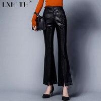 3XL 4XL High Quality Faux Leather Pants Split Flare Pants Women Zip Button PU Trousers Slim