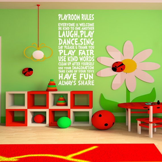 Playroom Wall Decor playroom rules wall decor wall art sign for children kids girl boy