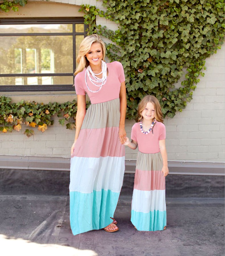 HTB1eHz9KFXXXXX2XFXXq6xXFXXXS summer Mommy and me family matching mother daughter dresses clothes striped mom dress kids child outfits mum sister baby girl
