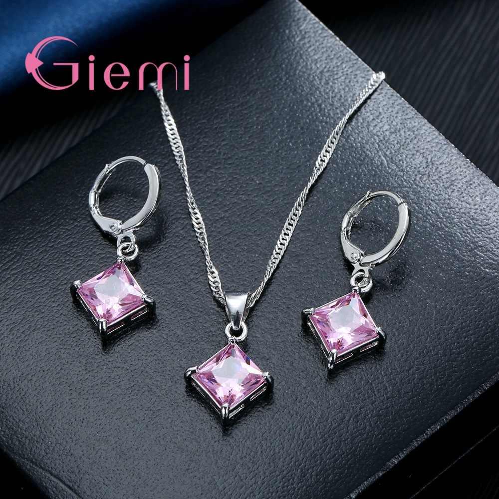 Gaya Musim Panas Penjualan Besar Cubic Zirconia Pernikahan Perhiasan Set Wanita 925 Sterling Silver Kalung dan Anting-Anting Set Perhiasan