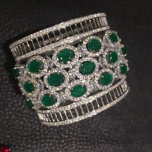 Широкий браслет из стерлингового серебра 925 пробы с кубическим цирконием, умные вечерние браслеты зеленого цвета, Модные женские ювелирные изделия