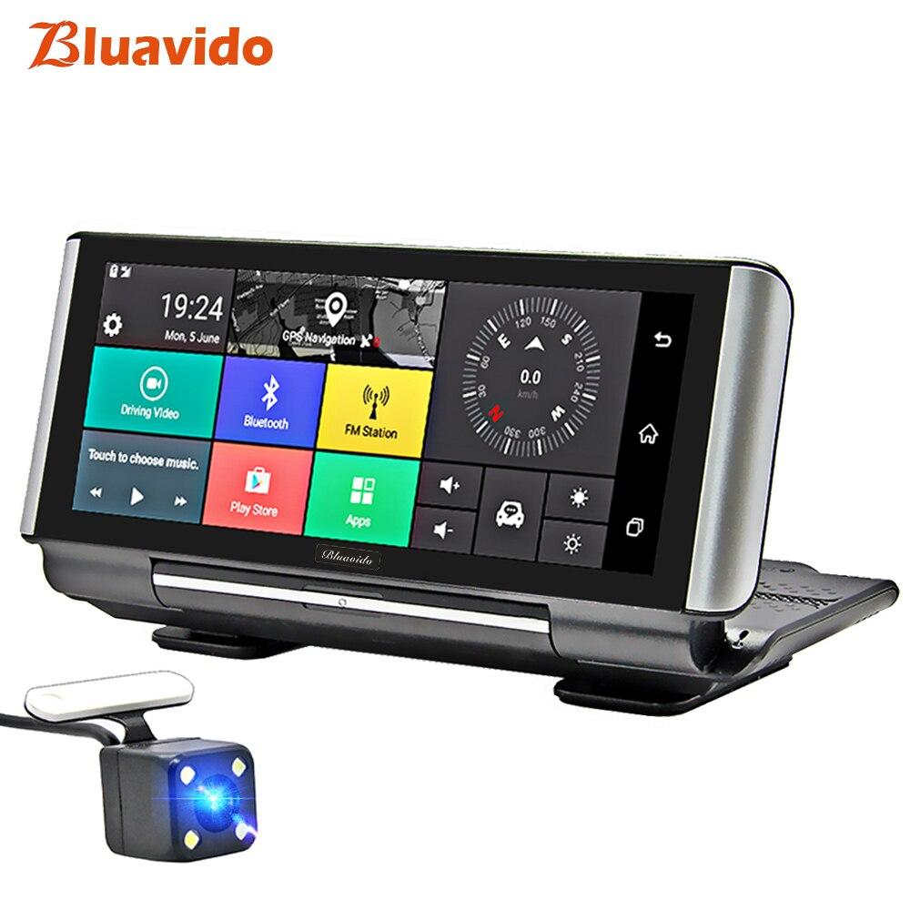 Bluavido 7 pouces 4G voiture DVR caméra GPS FHD 1080P Android Dash Cam Navigation ADAS voiture enregistreur vidéo double objectif avec caméra inversée