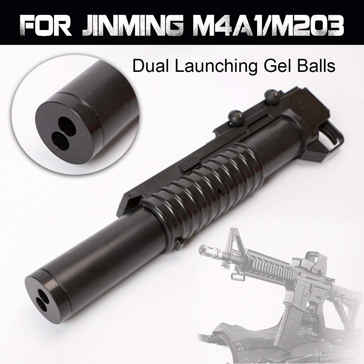 Double Barrel Grenade Launcher Accessories For JINMING M4A1/M203 Gel Ball Blasting Guns Toys
