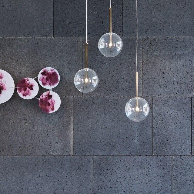 LukLoy Klar Glas Ball Küche Moderne Anhänger Licht Kronleuchter Loft Nacht Esszimmer Moderne Hängen Decke Lampe LED Glanz-in Pendelleuchten aus Licht & Beleuchtung bei